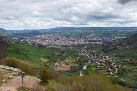 millau: Millau valley (southern France) with river going thorugh town and famous Millau bridge at horizon (left)