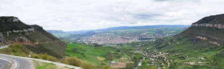 millau: Millau Valley Panorama - Millau Town with Viaduct (Bridge) in background