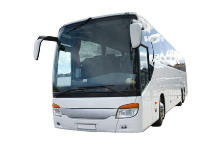 Modern long distance bus, isolated Stock Photo