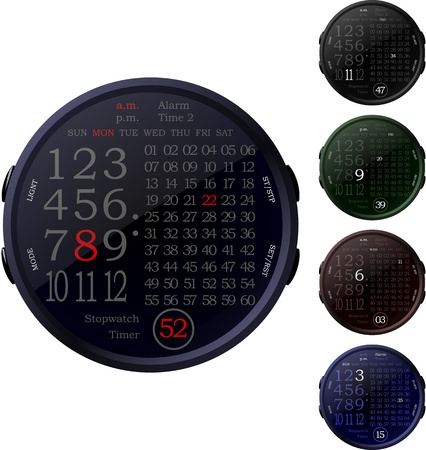 Five isolated digital clocks in the color variations on a white background Vector
