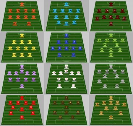 Tactical schemes in football Stock Vector - 16798843