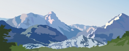 Mountain landscape  Snow-capped peaks on a sunny day Vector