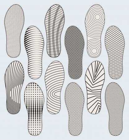 Mehrere Varianten von Mustern von Schuhsohlen Vektorgrafik