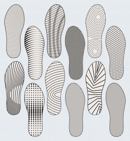 foot step: Several variants of patterns of shoe soles
