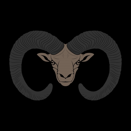 Stylized face of the mountain ram on a black backgound