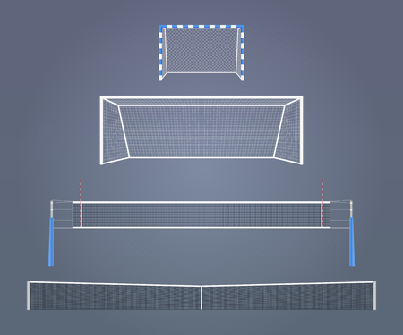 balonmano: Conjunto de vector de modelos de equipos spors realistas Los tamaños relativos de las puertas y redes utilizadas en los diferentes deportes