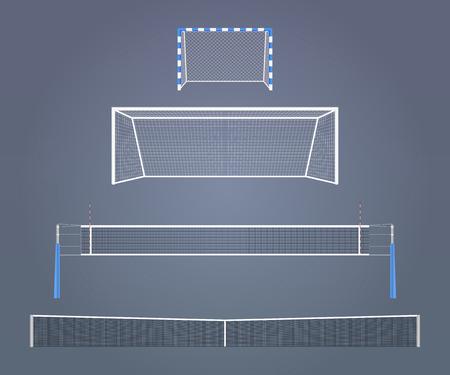 Set van de vector realistische spors apparatuur modellen De relatieve grootte van hekken en netten in verschillende sporten