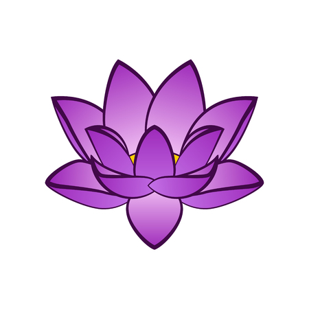 Simple violet lotus flower vector illustration. Isoleted aquatic plant on a white background for the art design or logo. Logó