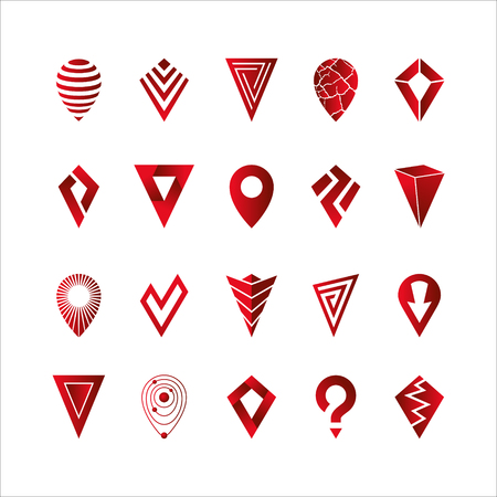 Location pointer icons set for maps, gps and navigation on white background. Vector illustration Çizim