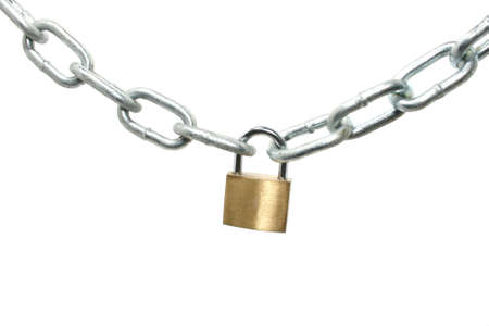 a padlock holding a silver chain photo
