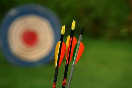 arc fleche: cible de tir � l'arc et des fl�ches sur fond vert Banque d'images