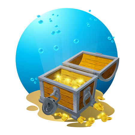 Chest of gold in the sand under the blue clouds - vector illustration for design, banners, flyers, textures, backgrounds, postcards. Vector. EPS10 Illustration