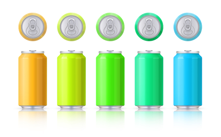 Vector set of glossy colored aluminum cans. Template on a white background with reflection. Vector. EPS10