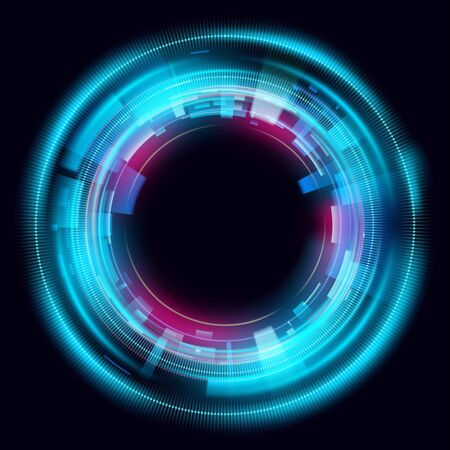 Magic circle light effects. Illustration isolated on dark background. Mystical portal. Bright sphere lens. Rotating lines. Glow ring. Magic neon ball. Vector.