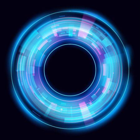 Lichteffekte des magischen Kreises. Abbildung auf dunklem Hintergrund isoliert. Mystisches Portal. Helle Kugellinse. Rotierende Linien. Glühring. Magischer Neonball. Vektor. Vektorgrafik