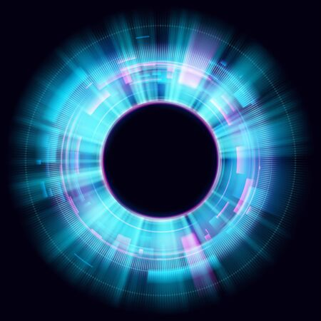 Abstract glowing circles on black background. Magic circle light effects. Illustration isolated on dark background. Mystical portal. Glow ring. Magic neon ball. Vector. Stock Illustratie