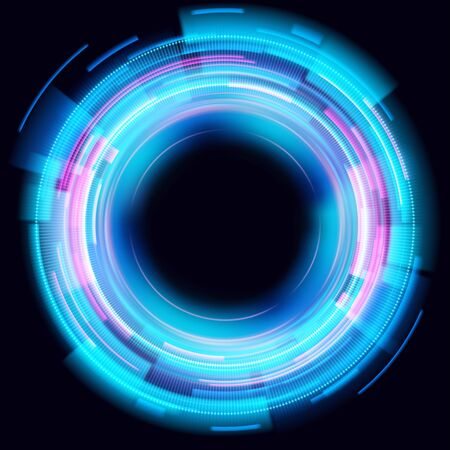 Abstract glowing circles on black background. Magic circle light effects. Illustration isolated on dark background. Mystical portal. Glow ring. Magic neon ball. Vector. Vettoriali