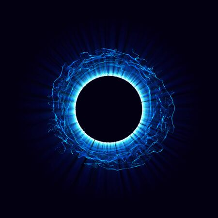 Black holes in the space. Abstract vector background with blue toned swirl and hole in center or collapsar isolated on black. . Astronomical illustration. Vector. Eps10
