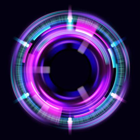 Effets de lumière de cercle magique. Illustration isolée sur fond sombre. Portail mystique. Lentille sphérique lumineuse. Lignes tournantes. Anneau lumineux. Boule de néon magique. Vecteur.
