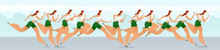 Running girl. Running in the fresh air. Motion frame by frame. Sport. Leisure. Healthy lifestyle. Vector