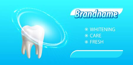 Whitening toothpaste poster concept. Tooth before and after whitening treatment. Graphic concept for your design. Vector Illustration Ilustrace