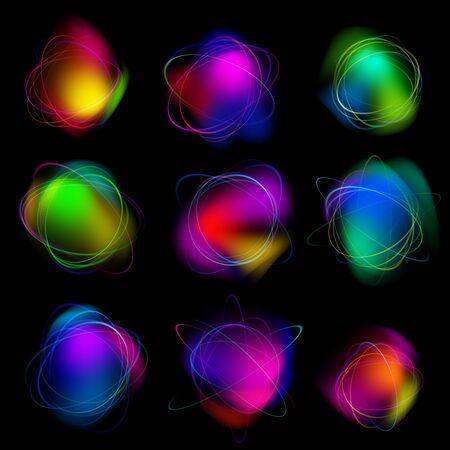 Magic light effects. Illustration isolated on dark background.