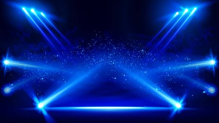 Escenario iluminado con luces escénicas y humo. Proyector de vector azul con efecto de luz de volumen de humo sobre fondo negro. Proyector de nubosidad para estadios. Sala de espectáculos de niebla. Vector. EPS 10
