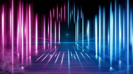 A neon corridor tending to the horizon, a clear night sky without clouds and a lone star, the reflection of light on the surface of stone earth. Smoke fog. The road to the horizon. Vector.