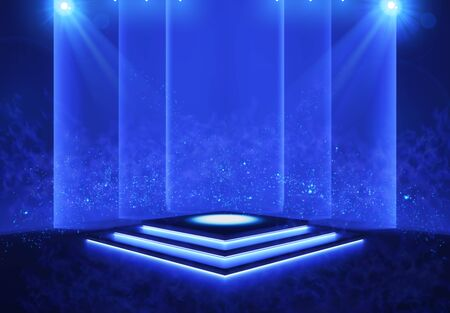 Illuminated stage with scenic lights and smoke. Blue vector spotlight with smoke volume light effect on black background. Stadium cloudiness projector. Mist show room. Vector.