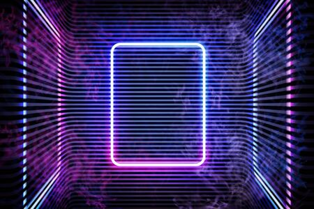 Neon color geometric round rectangle on metal stripe pattern background. Mystical portal, luminous line, neon sign. Reflection of blue and pink neon light on the floor. Rays of light in the dark, smoke. Vector.
