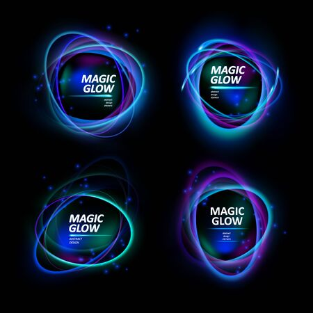 Magic light effects. Illustration isolated on dark background. Mystical portal. Bright sphere lens. Rotating lines. Glow ring. Magic neon ball. Abstract design