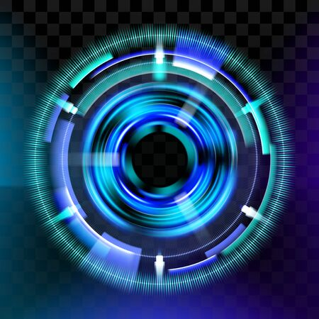 Magic light effects. Illustration isolated on dark background. Mystical portal. Bright sphere lens. Rotating lines. Glow ring. Magic neon ball. Abstract design . Vector.  イラスト・ベクター素材