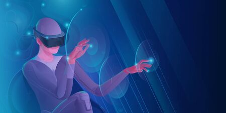 Woman in virtual reality helmet touches virtual interface buttons with her hands. Vector image of modern technologies for communication, games, creativity. Banner in blue tones.