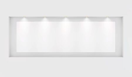 The basis for your images in a niche with backlight on a white wall. Place for an exhibition. Front view, layout template for design. Light effect on a separate layer. Vector.