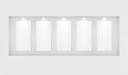 Five basics for your images in a niche with backlighting on a white wall. Place for an exhibition. Front view, layout template for design. Light effect on a separate layer. Vector.