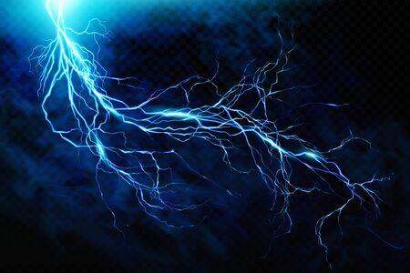 Großer Blitz am HimmelEin Blitz vor einem Hintergrund von Gewitterwolken. Natürliche Energie. Transparente Elemente. Vektor