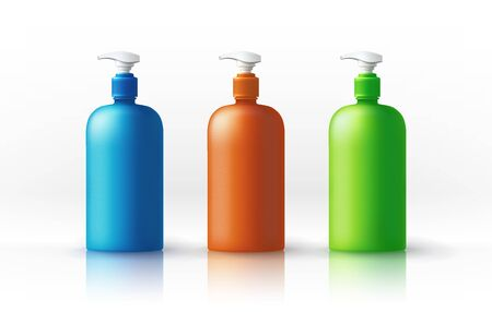 A set of blue, orange, green satined plastic bottles for sanitary and antiseptic products. Object, shadow, glossy and reflection on separate layers. Vector.