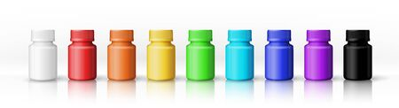 A set of white, red, orange, yellow, green, cyan, blue, violet and black plastic bottles for any paint products and tools. Items isolated on a white background. Object, shadow and reflection on separate layers. Vector. 向量圖像