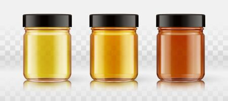 A set of yellow, orange, red glass bottles for any liquid products, honey, confiture, jams, preserves, oil, syrups, home canning. Blank for your design. Items isolated on background with transparency effect. Object, shadow, highlights and reflection on separate layers. Vector. Иллюстрация