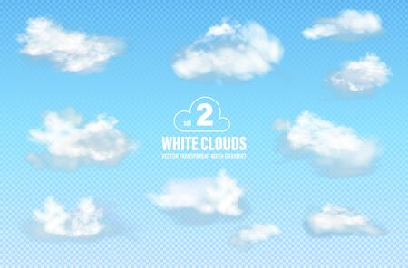 Set 2 of transparent different clouds isolated on blue background. Real transparency effect. Vector illustration Ilustração