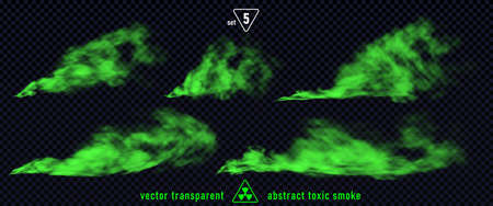 Green smoke set 5 isolated on transparent background. Magic mist cloud, chemical toxic gas, steam waves, realistic set of green bad smell. Realistic illustration. Vector EPS10 Ilustración de vector