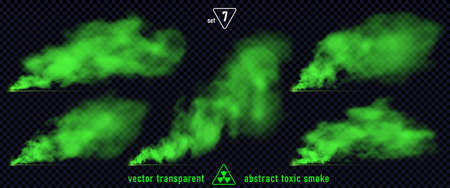 Green smoke set 7 isolated on transparent background. Magic mist cloud, chemical toxic gas, steam waves, realistic set of green bad smell. Realistic illustration. Vector EPS10