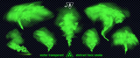 Green smoke set 8 isolated on transparent background. Magic mist cloud, chemical toxic gas, steam waves, realistic set of green bad smell. Realistic illustration. Vector EPS10 Vektorové ilustrace