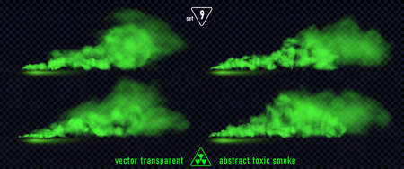 Green smoke set 9 isolated on transparent background. Magic mist cloud, chemical toxic gas, steam waves, realistic set of green bad smell. Realistic illustration. Vector EPS10