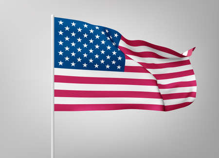 Flags of United States of America on white steel poles isolated on white background. National symbol of USA, silk waving banner with red and white stripes, with stars on blue color. Vector 3d realistic illustration.