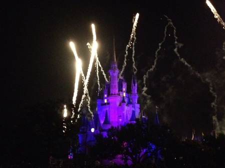 wish: Fireworks over the castle Stock Photo