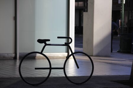 Resting area of bicycle on the street Imagens