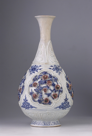 antique chinese vase on the gray background