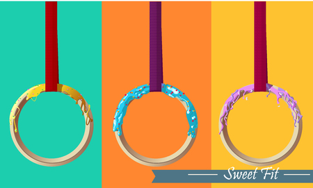 includes: Design includes three rings looking like colorful donuts.