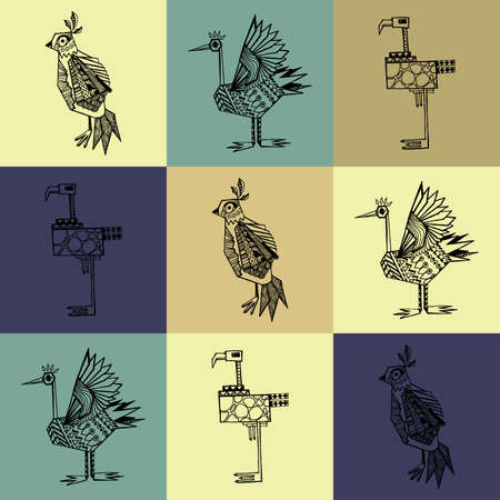 post card: Handbeschilderd vogels. Perfect briefkaart templates.